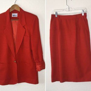 Katie Brooke 90s Vintage Suit Set 8 Blazer Skirt M